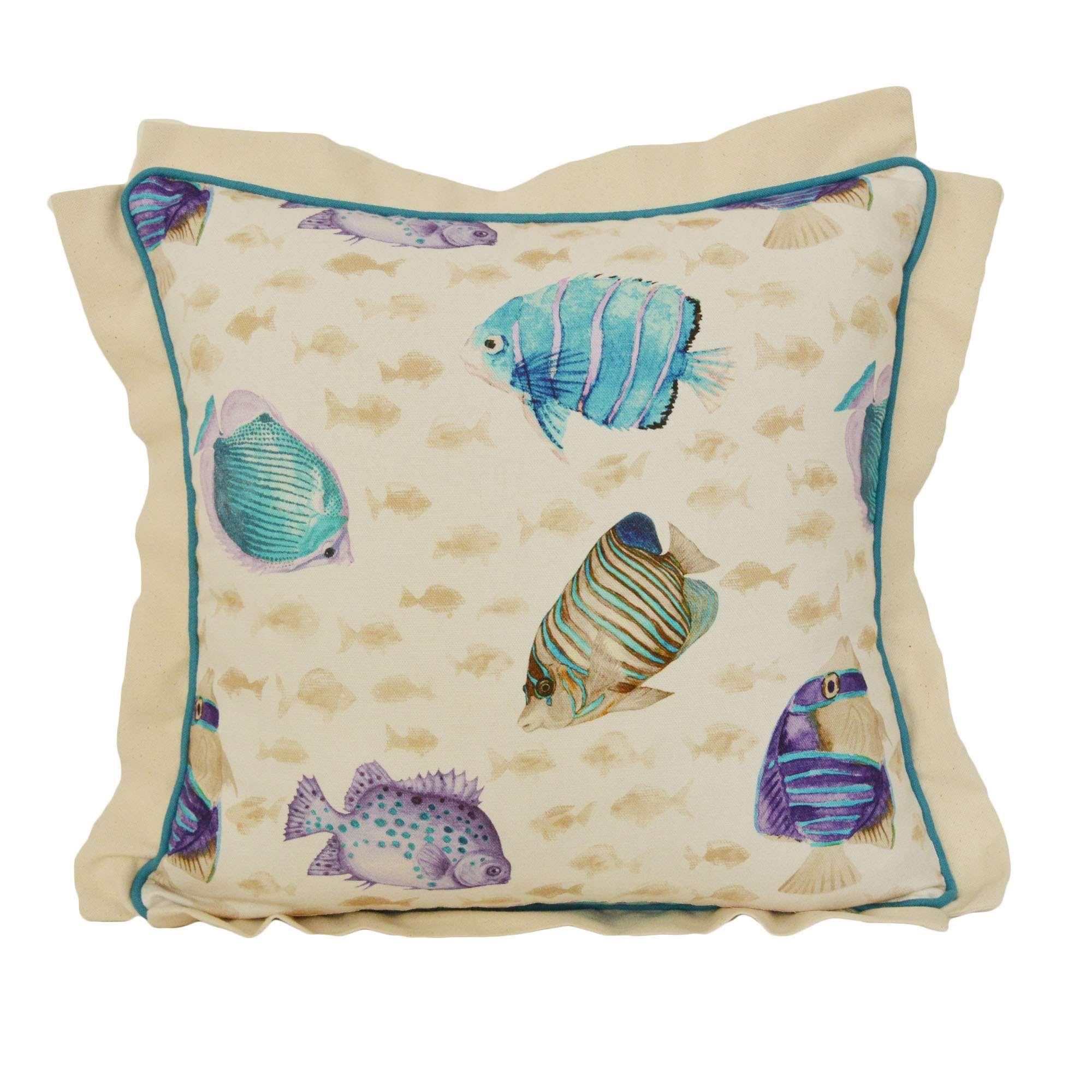 Federa cuscino fantasia pesci tropicali tina codazzo home for Misure cuscino carrozzina