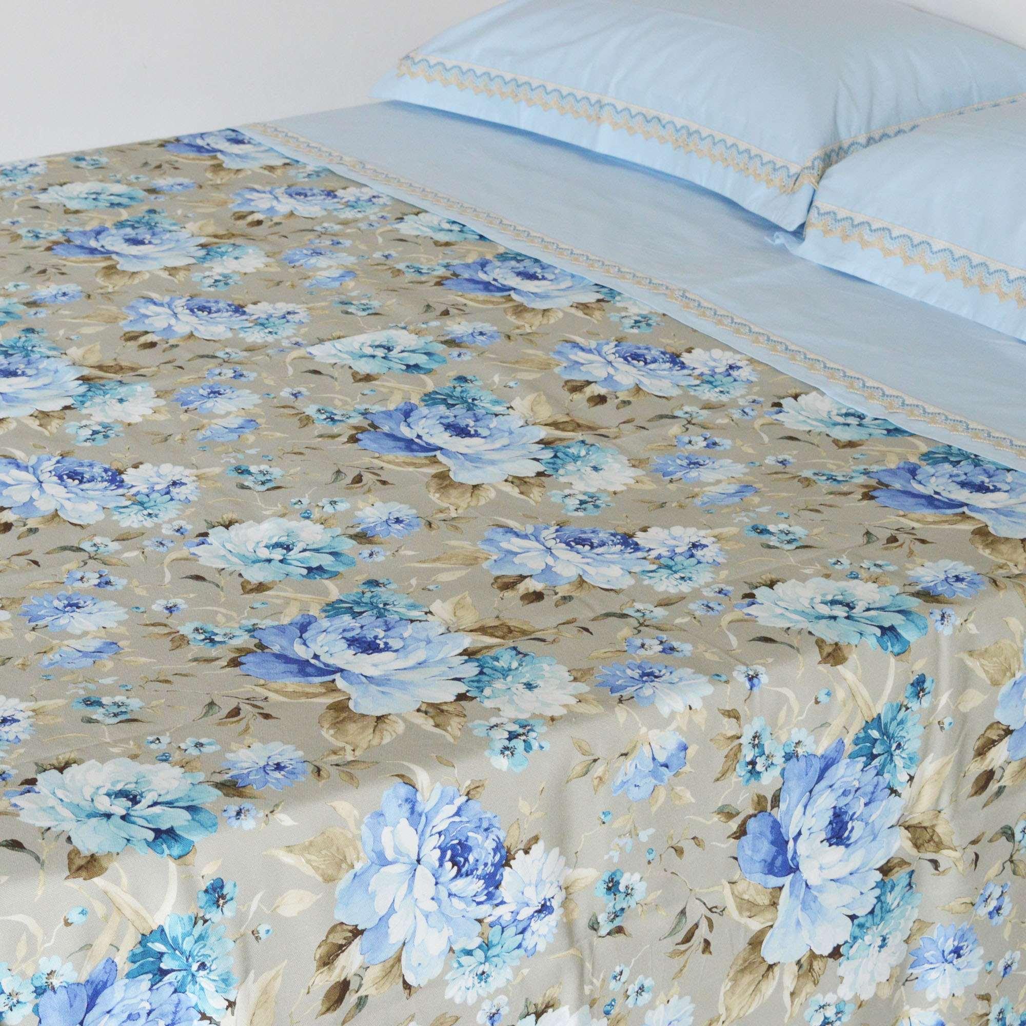 Coperta matrimoniale fantasia fiori blu tina codazzo home - Coperta letto matrimoniale ...