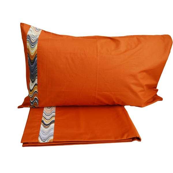 Lenzuola Matrimoniali Arancioni.Lenzuolo Matrimoniale In Cotone Rose Arancioni Tina Codazzo Home