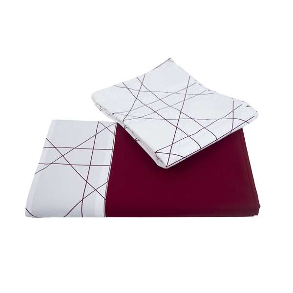 Set lenzuola in cotone satin bordeaux motivo geometrico