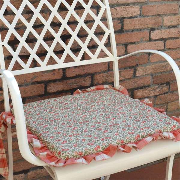 cuscino per sedia double face con riccetto e lacci